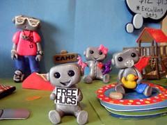 Playtime robots 2 (Sleepy Robot 13) Tags: water pool playground fun outside outdoors play swings treehouse playtime polymerclayurbanvinylsleepyrobot13etsysilvercraftcraftscraftingsculptingsculpturefigurinearthandmadecraftshowcutekawaiirobots