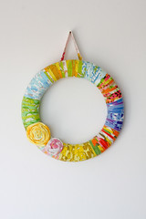Vintage Sheet Wrapped Wreath (Jeni Baker) Tags: november floral vintage project apartment recycled handmade linen sewing bottom craft wrapped sheets retro wreath tape fabric quilting finished sheet ribbon 365 projects tutorial 2010 bedding repurposed bedsheet reused bias hem