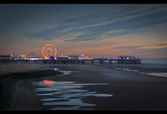 Wet sand and Blackpool central pier, Pools and the Blackpool central pier, Explored! and Frontpage! (Ianmoran1970) Tags: sea wet water wheel lights pier sand ferris gt frontpage blackpool explored ianmoran attractiions ianmoran1970