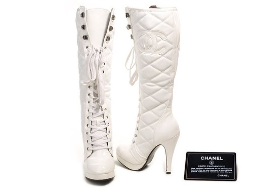 Chanel Lace-up boots in white leather