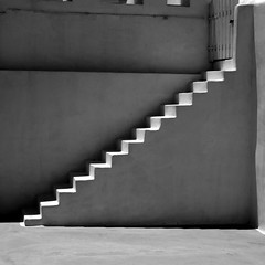 l'escalier (Jrme Briot) Tags: sea bw mer white black stairs noir aegean santorini greece santorin blanc grce escalier oia cyclades thira thera ege hells