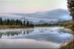 Misty Sunrise, Oxbow Bend (Jill Clardy) Tags: park morning autumn mist cold fall misty sunrise reflections dawn bravo bend grand calm glacier mount national 100views serene 28 wyoming tetons moran tones hdr oxbow muted degrees npw frostbite 4472 photomatix 4470 tonemapped 4471 belowfreezing