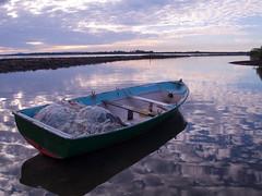 fishing boat (maxymedia) Tags: sunset reflection net clouds river photography boat wooden fishing photographer sydney australia olympus nsw drifting e330 maxys maxmedia scottmaxworthy sgmdigital