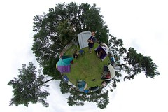 Camping (gadl) Tags: trees panorama tripod gimp whitebackground projection fred xavier polar guillaume magda 360 vendredi stereographic hugin enblend mathmap 24hdumansrollers stereographicprojection 303sph 20070629