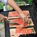 wild salmon grilled on a cedar plank