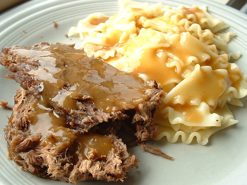 Sauerbraten and noodles