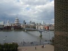 View from Tate Modern ~ Thames, Millenium Bridge and St Pauls Cathederal (goreckidawn) Tags: city uk england colour london strange landscape glory diversity odd metropolis contradiction