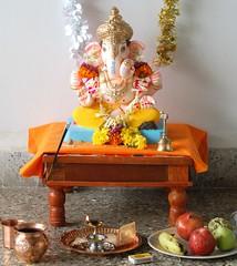 Lord Ganesha (Gauravb) Tags: india festival d50 nikon worship god ganesh pooja nikkor pune ganapati moraya 1855ed