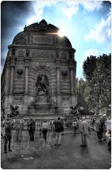 Dark fountaine (Hannibal Poenaru) Tags: blue sky people sculpture paris stone dark walking place cloudy ghost hdri fountaine