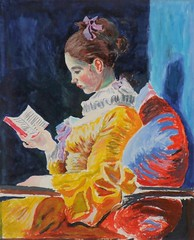 After Fragonard 10.75 x 9 inches (Fareed Suheimat) Tags: blue red portrait girl yellow watercolor painting paper french reading book watercolour watercolours rococo fragonard fareed mostcomments colourartaward artlegacy suheimat