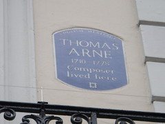 Photo of Thomas Arne blue plaque
