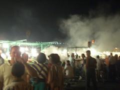 Marrakech - Jamaa El Fna - Clouds of smoke and lights at the night food stalls - 2.jpg (bernicelee) Tags: el september morocco marrakech 2007 fna jamaa