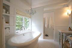 Elegant Farmhouse Bath (KohlerCo) Tags: white farmhouse vintage bathroom design bath warm antique farm interior country plumbing cottage clean kathryn tub faucet bathtub kohler pinstripe finial caxton