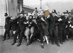 Edvard Munch, Meet The Beatles (captainpandapants) Tags: photomanipulation photoshop comedy unitedkingdom crowd humor teens police parody fans thescream thebeatles youngpeople beatlemania edvardmunch photoshophumor