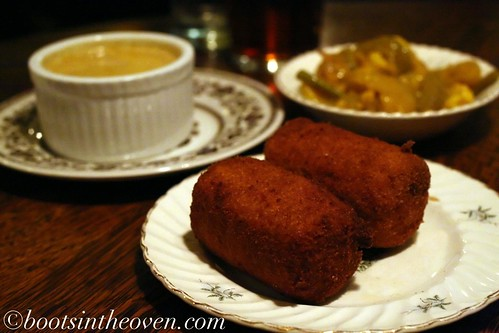 Colcannon Croquettes, Curry Sauce, and Piccalilli