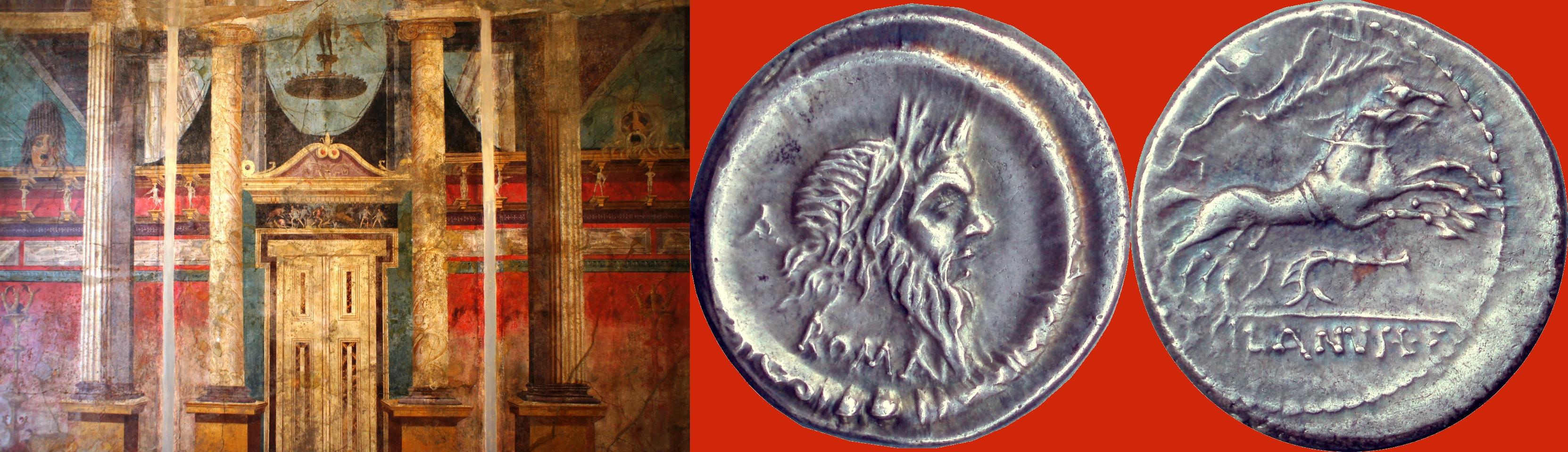 337/1 coin of Decimus Silanus with Mask of Silenus 91BC, and architectural fresco with Mask of Silenus from the Boscoreale villa of Fannius Synistor