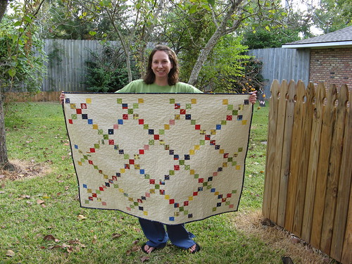Cherie and her finished baby quilt!