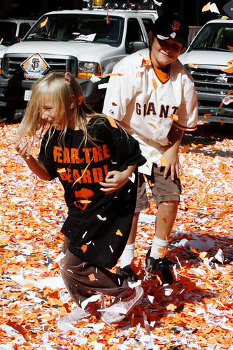 SF Giants Victory Parade: Playing in Confetti
