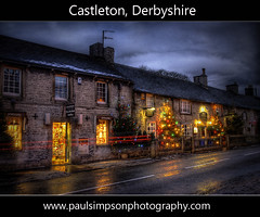 Castleton Lights (Paul Simpson Photography) Tags: road street uk homes winter snow evening nationalpark village dusk derbyshire peakdistrict christmastree christmaslights christmasdecorations xmaslights hdr xmastree shopsign softlight castleton wintry thepeakdistrict christmastreelights photomatix villageshop heavyhdr castletonilluminations xmasseason flickrdiamond ukvillage boxingday2009 thehighpeak castletonchristmaslights castletonlights paulsimpsonphotography castletonchristmaslight