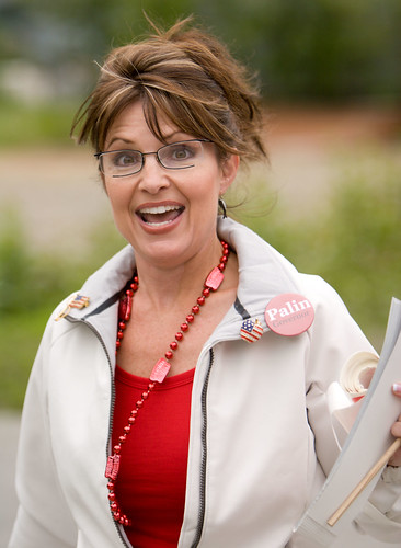 Sarah Palin reading the news.