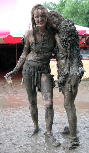 Muddy girls (dirty girls) at Glastonbury 2007