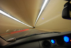Night Drive 2 (Gonzobonzo) Tags: longexposure manchester nikon sigma tunnel 1020 manchesterairport mgzt lightstream d80