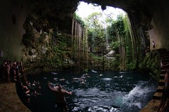 Jumping in (Kurayba) Tags: water swimming mexico jumping vines pentax roots deep yucatan fisheye cenote 1017 50m k7 ikkil smcpdafisheye1017mmf3545edif