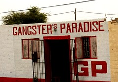 Gangster's Paradise (cowyeow) Tags: poverty africa street old silly building bar weird town gangster crazy funny sad african empty wrong prostitution alcohol badsign booze rough decrepit namibia funnysign dilapidated brothel rundown namibian uglybuilding funnyname ruacanafalls ruacana crapsign funnyafrica