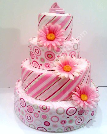 Pink Bubbles And Stripes diaper cake, baby shower centerpiece