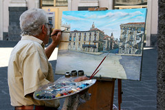 Sicilian painter (micromax) Tags: city sea italy sun art coast italian europa europe italia arte east painter sicily piazza colori catania sicilia olio ionian pittore piazzauniversit tavolozza viaetnea canoneos400d
