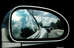 Back to the Future (LiesBaas) Tags: road sky black tree car clouds mirror view spiegel wolken rearviewmirror boom lucht rim zwart dirtymirror colourphotography achteruitkijkspiegel kleurenfotografie liesbaas urbexen31okt2010 backtothefuturebyliesbaas autovanhuubachterons