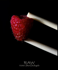 Shoot RAW (Shari DeAngelo) Tags: food bravo quality chopsticks raspberry sb800 105mmf28micro kenkoextensiontubes nikond200 lightshpere sharideangelo eatitraw superbmasterpiece infinestyle