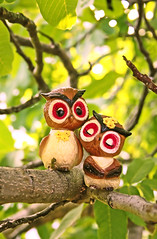 Hoo Do You Love? (boopsie.daisy) Tags: tree cute love leaves birds vintage pepper couple pretty branch sweet branches pair salt adorable kitsch romance amour owl perch sweethearts collectables twigs darling collectibles owls saltandpepper twosome perching boyowl girlowl spshakers