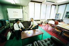 three senseis (troutfactory) Tags: school film japan campus university voigtlander rangefinder wideangle osaka analogue teachers kansai 15mm bessal sensei suita teacherslounge beforeclass