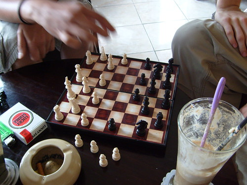 Playing chess during lunch