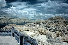 Outside the wall (sausyn) Tags: blue panorama white lake wall clouds ir outside blu infrared bianco rocca filtro angera infrarosso interestingness67 i500 infrarossi
