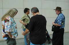 Conversation on the breezeway -- note my aloha shirt