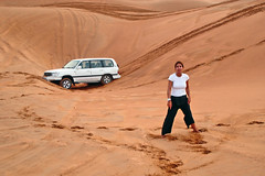 stuck... (salonica) Tags: travel girl car sand dubai tour stuck offroad 4x4 dune 4wd safari explore toyota landcruiser dubaidesert killerbee desertsafari i500 explore95 superbmasterpiece flickrphotoaward theunforgettablepictures