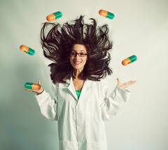(miriness) Tags: cute nerd smile glasses geek science juggling pills labcoat medication madscientist capsules sciencegirl