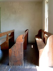 Dunker Church (Universal Pops ( Computer Died)) Tags: wood light shadow church wall bench interior union maryland confederate civilwar baptist pew simple plain sharpsburg dunker brethren pacifist washingtoncounty unadorned antietamnationalbattlefield