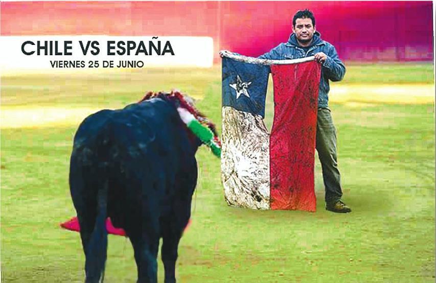 Bandera chilena contra el toro español