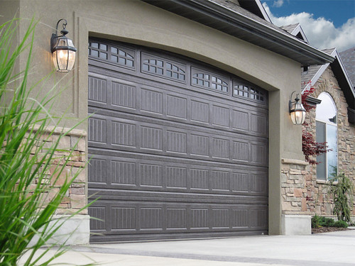 Garage Doors Grooved Dark Brown Color