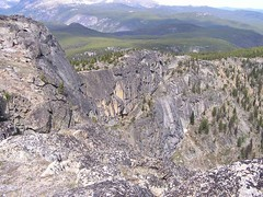 "Looking from  Sadie's Summit pt. 2395m to ridge out to northern ""tail""  (notice striped rocks on steep eastern slope)"
