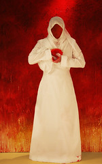 Emotional Being (Lateefa) Tags: woman white selfportrait stain hurt veil heart emotion muslim surreal stained arab sheila heartfelt 2b purity heartbroken whitedress paintingart abigfave lateefa artlibre superbmasterpiece emotionalself