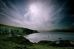 Wight Landscape - Cirrostratus over Alum bay, Isle of Wight (s0ulsurfing) Tags: ocean blue light shadow sea summer sky cliff cloud sun sunlight lighthouse seascape green beach nature water beautiful g