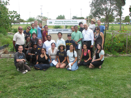 Students at Florida International University's Organic Garden