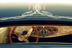sweet. (artsy_T) Tags: black window car vintage antique michigan carshow steeringwheel allenpark willcomebackandlistthemakeandmodellater thiscarwassweeeeet