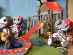 Playtime robots 3 (Sleepy Robot 13) Tags: water pool playground fun outside outdoors play swings treehouse playtime polymerclayurbanvinylsleepyrobot13etsysilvercraftcraftscraftingsculptingsculpturefigurinearthandmadecraftshowcutekawaiirobots