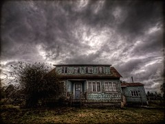 the little house of horrors HDR (Phil Bleau) Tags: chile fiction house dark ghost haunted spooky textures sanjuan horror hdr abandonned chiloé angryclouds olympuse30 zuico918mm