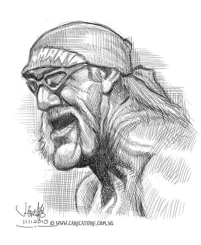 digital caricature sketch of Hulk Hogan